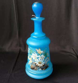 Victorian blue glass perfume decanter, flowers and butterflies, c.1885-0