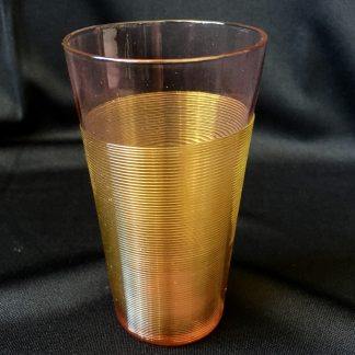 Victorian ruby glass champagne tumbler, amber trail, c.1880-0
