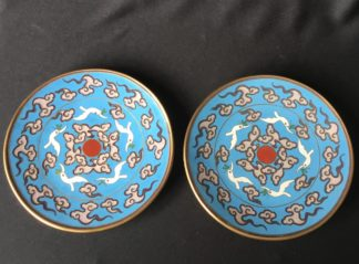 Pair Japanese Cloisonné dishes, cranes amongst clouds, early 20th century-0