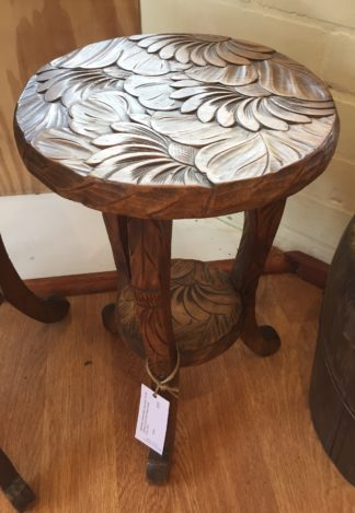 Japanese low side table, flower carved c. 1910-0
