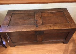 Oak paneled coffer , late 17th century -0