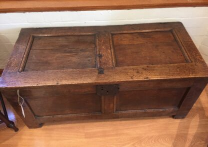Oak paneled coffer , late 17th century -0