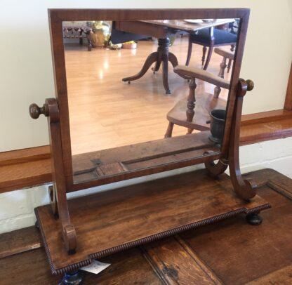 Georgian mahogany dressing mirror, knulled edging, c.1820-0