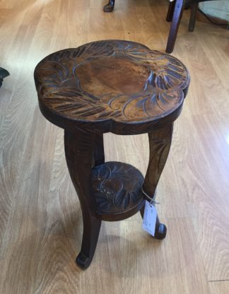 Japanese low side table, flower carved, c. 1910-0
