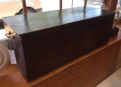 Elm coffer, simple construction with brass handles, circa 1780 -0