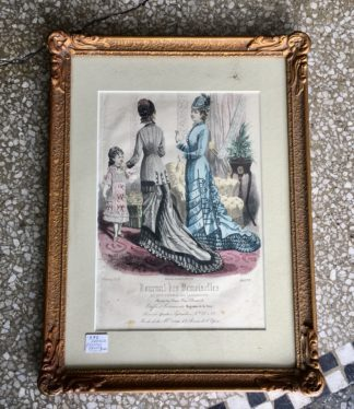 French fashion print of two ladies and a young girl, dated 1878 in gilt frame -0