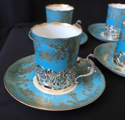 Demitasse set for six, sterling silver mounts for Hardy Bros, Sydney, 1906-7-21634
