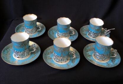Demitasse set for six, sterling silver mounts for Hardy Bros, Sydney, 1906-7-21635