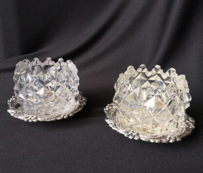 Pair of Old Sheffield Plate & glass Georgian salts, circa 1820-21109
