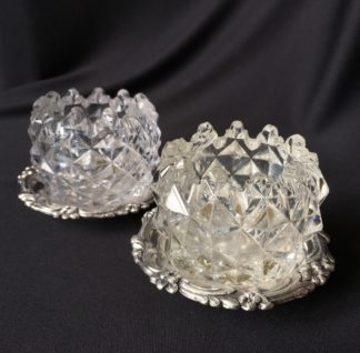 Pair of Old Sheffield Plate & glass Georgian salts, circa 1820-0