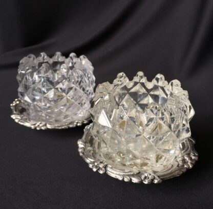 Pair of Old Sheffield Plate & glass Georgian salts, circa 1820-0