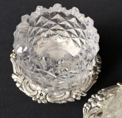 Pair of Old Sheffield Plate & glass Georgian salts, circa 1820-21115