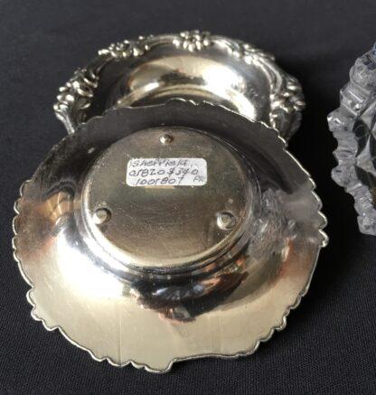 Pair of Old Sheffield Plate & glass Georgian salts, circa 1820-21117