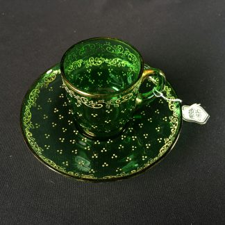 Moser green glass cup & saucer, circa 1875-0