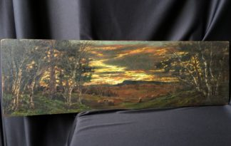 Oil on mahogany panel, sheep at sunset, signed & dated 1910-0