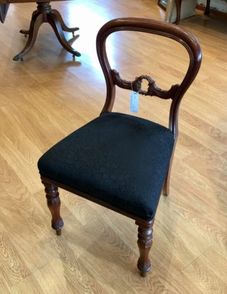 Victorian mahogany balloon back chair, black upholstery c.1860-0