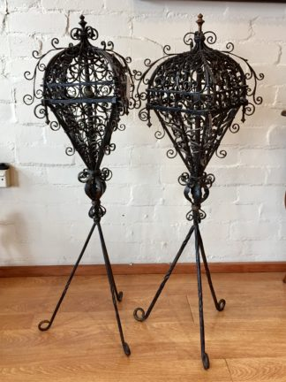Pair of wrought iron lanterns on stands, Italian, 17th century -0