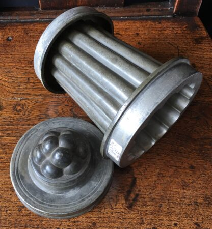 Victorian pewter icecream mould, tall fluted tower, late 19th century-21414