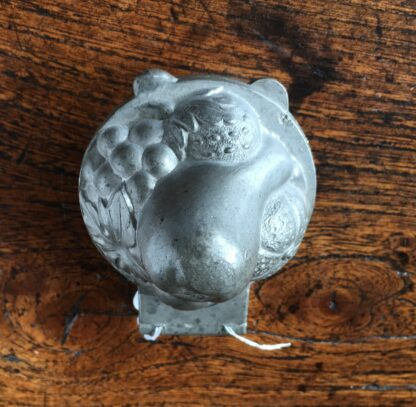 Victorian pewter confectionary/ icecream mould, basket of fruit, c. 1900-21390