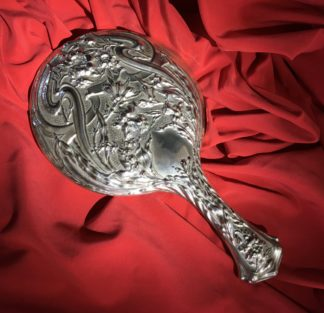 Art Nouveau Nickel Silver hand mirror, circa 1910 -0