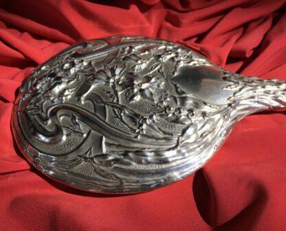 Art Nouveau Nickel Silver hand mirror, circa 1910 -22328