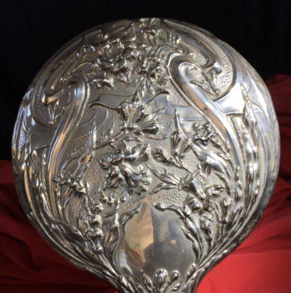 Art Nouveau Nickel Silver hand mirror, circa 1910 -22329
