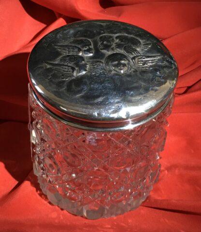Sterling Silver 'Angel Pattern' dressing table box, crystal base, Birmingham 1904-22354