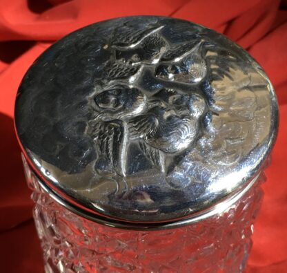 Sterling Silver 'Angel Pattern' dressing table box, crystal base, Birmingham 1904-22355