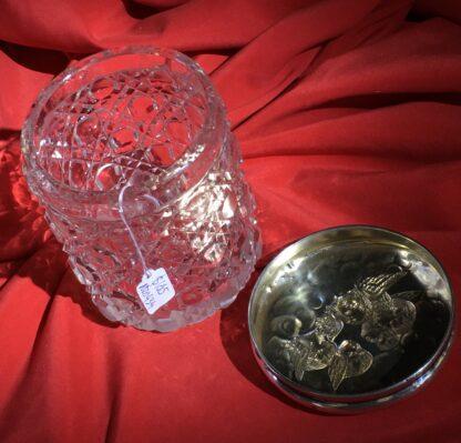 Sterling Silver 'Angel Pattern' dressing table box, crystal base, Birmingham 1904-22358