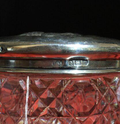 Sterling Silver 'Angel Pattern' dressing table box, crystal base, Birmingham 1904-22359