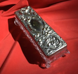 Silver plated dressing table box with pressed glass base, c. 1907-0