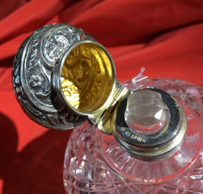 Victorian cut crystal perfume, Sterling Silver lid, 1897-22375