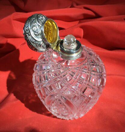 Victorian cut crystal perfume, Sterling Silver lid, 1897-22373