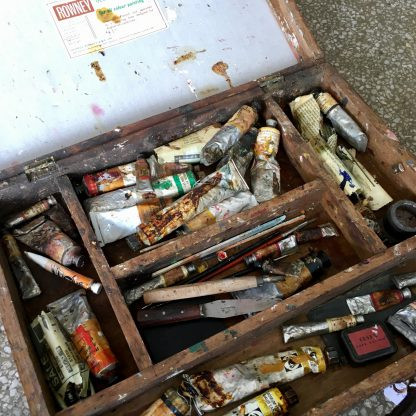 Original artists paint box, with contents, early 20th century -0
