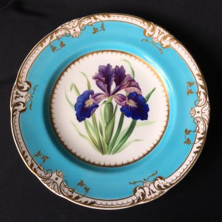 Finely painted bone china plate with Iris, probably Minton, 1853-0