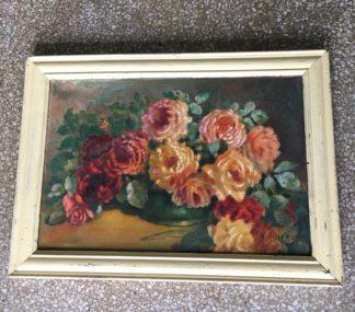 Original oil painting, still life, vase of roses, c.1920-0