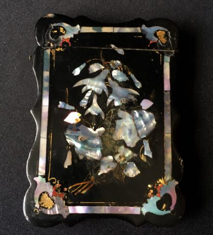 Paper Maché card case with inlaid mother-of-pearl flowers, c. 1860-21551