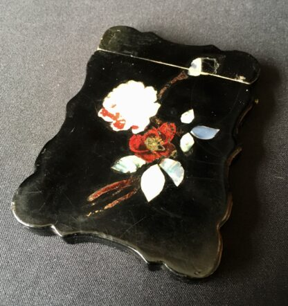 Paper Maché card case with inlaid mother-of-pearl flowers, c. 1860-21549