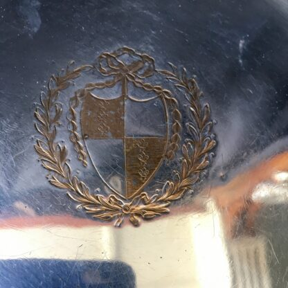 French rolled plate waiter, fleur-de-lis armorial crest, c. 1785-21822