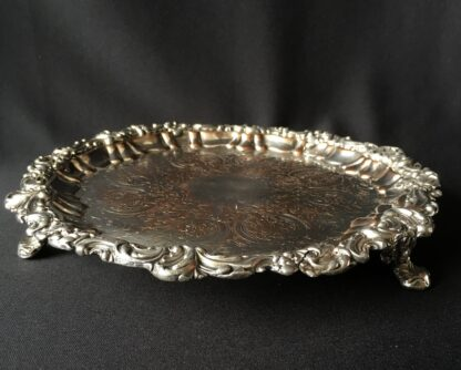 Old Sheffield plate tray of small size, on three legs. c 1820.-21824