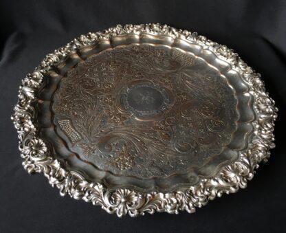 Old Sheffield plate salver, shell & scroll, circa 1820 -0