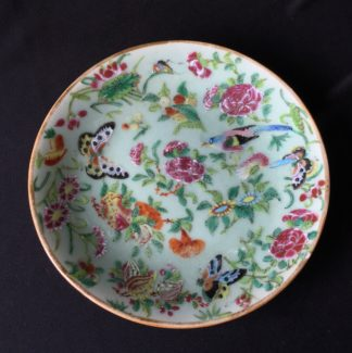 """""""Rose Medallion"""" Cantonese/Chinese porcelain plate, flowers & butterflies, c.1860-0"""