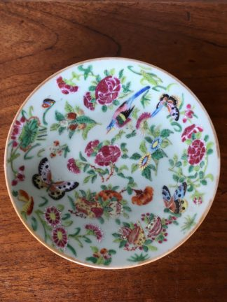 "Cantonese 'Rose Medallion"" Chinese porcelain plate, flowers & butterflies, c.1860-0"