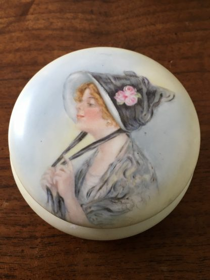 Hand painted dressing table box, lady in a bonnet, c. 1914-0