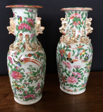 Pair of Cantonese vases, twin dragon handles with bird & flowers, c. 1860-0