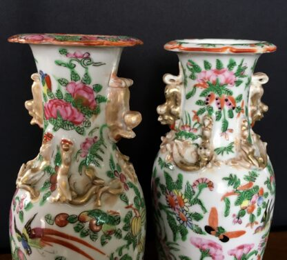 Pair of Cantonese vases, twin dragon handles with bird & flowers, c. 1860-21857