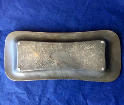 Old Sheffield Plate snuffer tray, simple form, engraved with flowers, c. 1830-21966