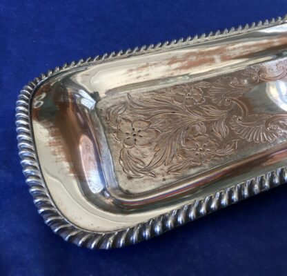 Old Sheffield Plate snuffer tray, simple form, engraved with flowers, c. 1830-21967