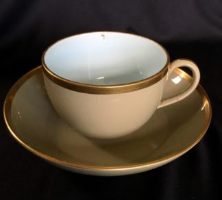 Wedgwood cup & saucer, blue interior with gilt rims, c. 1820 -0