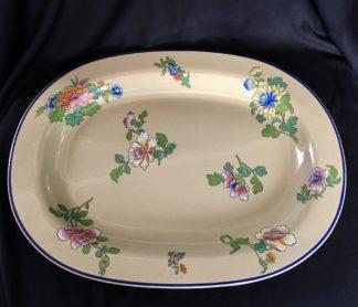 Wedgwood drabware meat platter, oriental flower pattern, c. 1810 -0